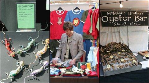 På Spitalfields finner du blant annet brukskunst av gamle gjenstander, t-skjorter med morsomt design og delikatesser som østers.