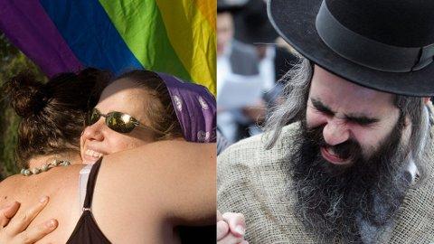 PROTESTER: Da homseparaden gikk sin gang, protesterte ortodokse jøder med gatebønn.
