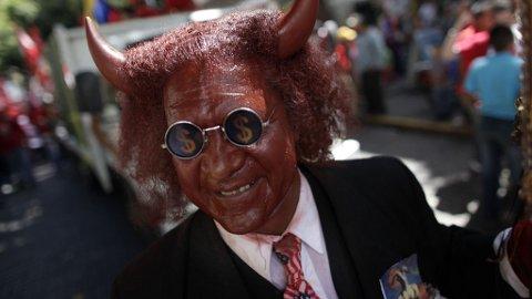 Djevel, kapitalist, demonstrant, dress, satan, grisk, grådig