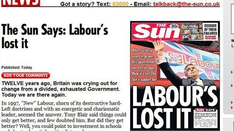 Faksimile av nettforsiden til The Sun 30/9-2009