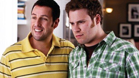 ADAM SANDLER som den feterte komikeren George Simmons og Seth Rogen som hans noe belastede assistent Ira Wright.