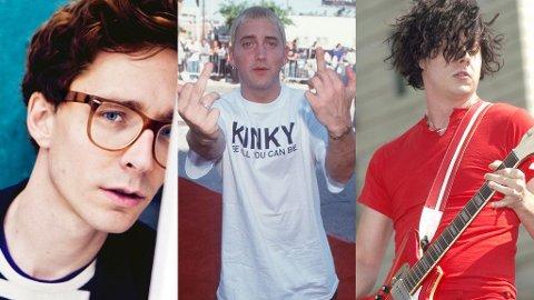 TRE AV GIGANTENE: Erlend Øye fra Kings Of Convenience, Eminem og Jack White fra The White Stripes var alle med på å prege 2000-tallet.
