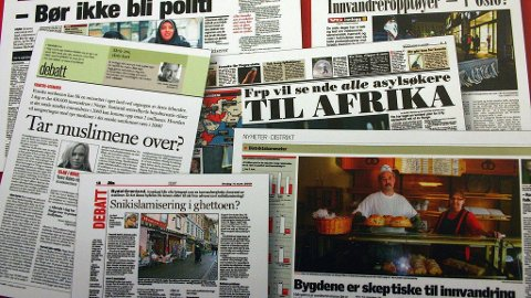 Forsideoppslag i media som omtaler innvandring.