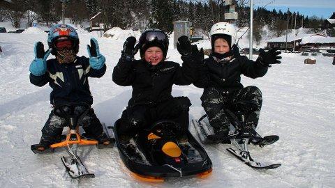 Oliver Faaberg Sundbø (4,5), Adrian Faaberg Sundbø (8) og Casper Bergestuen (6) trosser kulden og storkoser seg med aking i Korketrekkeren i vinterferien.