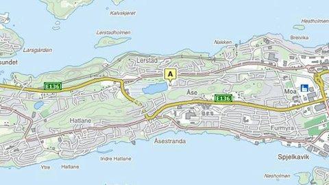 ULYKKESSTEDET: Ved Lerstad barneskole i Ålesund ble en gravid kvinne banket opp.