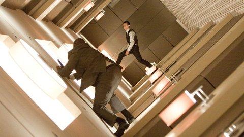 I RULLENDE KORRIDOR: Joseph Gordon-Levitt måtte tåle knall og fall under innspillingen i «hamsterhjulet» i «Inception».
