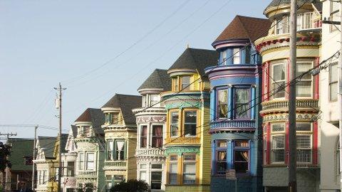 """De fargerike victorianske """"damene"""" er et av mange kjennemerker i San Francisco."""