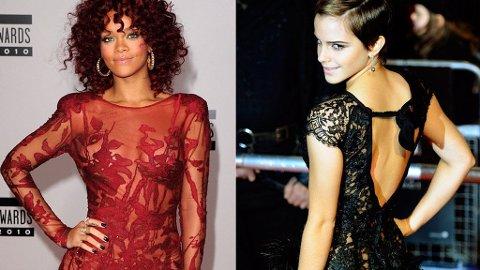 BLONDEDAMER: Emma Watson og Rihanna tyr begge til blonder og broderier.