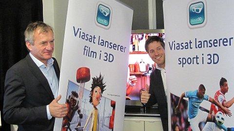 Fra høyre Erik Z. Børresen, Adm dir. Viasat og Paal Anders Jansen fra Samsung.