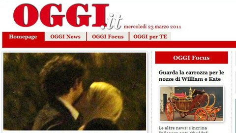 Her er kysset hele Italia snakker om - Milans stjernespiller Pato kysser datteren til Silvio Berlusconi. Hun er arving til Milan, der faren er eier.