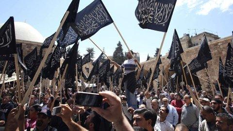 MASSEDEMONSTRASJONER: Innbyggerne i Syria demonstrerer langfredag mot myndighetene, som besvarer med tåregass og skudd.