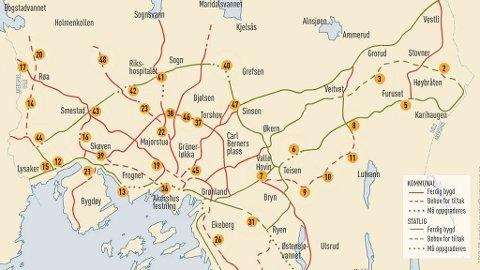 MYE STÅR PÅ PLANEN: Kartet viser et utsnitt av sykkelveier som enten er bygd, planlegges å bygges, eller man ennå ikke har funnet en løsning på hvordan man skal bygge.