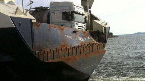 Bastø II ble skadet etter å kollidert med kaia i Horten tirsdag formiddag.