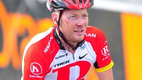 Chris Horner (Radioshack) kommer i mål på den 7. etappen i Tour de France 2011 forslått.