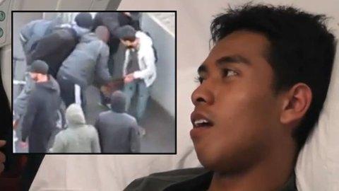 MED BRUKKET KJEVE: Ashraf Haziq er blitt verdenskjent etter videoen der han blir ranet i forbindelse med opptøyene i London.