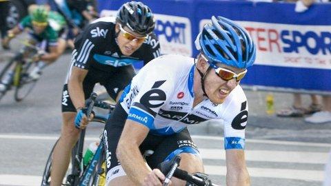 Tyler Farrar og Edvald Boasson Hagen under Grimstad Sykkelfestival.