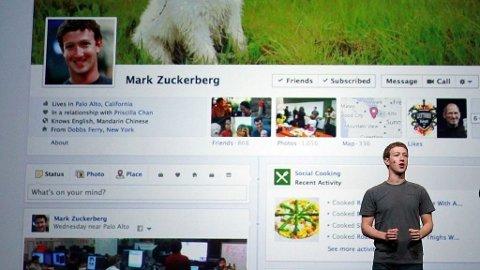 Facebook CEO Mark Zuckerberg kunngjør Timeline under konferansen den 22. september 2011 i San Francisco, California.