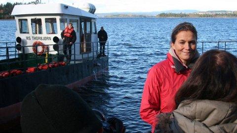 22.juli-kommisjonens leder Alexandra Bech Gjørv etter befaringen på Utøya tirsdag.