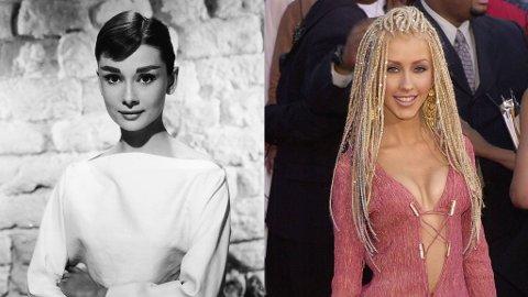 KOPIERT: Audrey Hepburns sveis elsker vi, og Christina Aguileras hår husker vi. Begge frisyrene har likevel blitt kopiert av mange.
