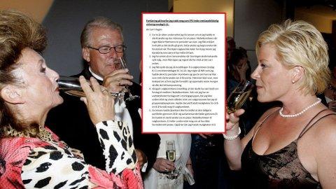Dette bildet er fra 2006. Avgått partileder Carl I. Hagen og kona Eli hygger seg med Siv Jensen på landsmøtefesten til Fremskrittspartiet etter FRPs landsmøte på Gardermoen. Alle drikker champagne.