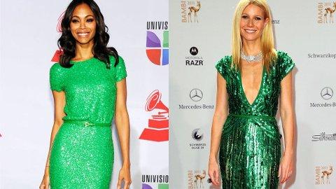 GRØNN: Skjønnhetene Gwyneth Paltrow og Zoe Saldana i grønne paljettkjoler fra Elie Saab.
