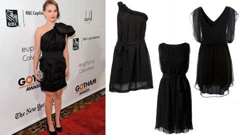 FESTFIN: Natalie Portman har en rektangulær kroppsfasong som ikke trenger å slankes - hun har derfor markert midjen sin for å skape en timeglassfigur. En markant midje er alltid flatterende for kvinnekroppen. En løsthengende kjole med en markert midje, er trikset for å se slankere ut - uten slankekuren på forhånd.