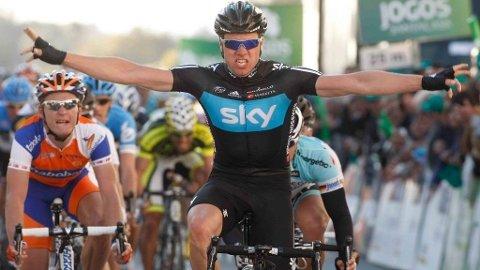Edvald Boasson Hagen (Team Sky) vinner den andre etappen i Volta ao Algarve 2012.