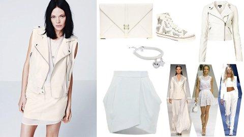 HELHVITT: Skinnvest og skinnskjørt fra H&M, veske og sko fra Asos, skinnjakke fra Topshop, smykke fra Nelly og skjørt fra DVF.