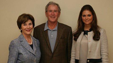 FOR BANR: Laura Bush, gift med tidligere president George W Bush, og prinsesse Madeleine jobber begge for barns rettigheter.