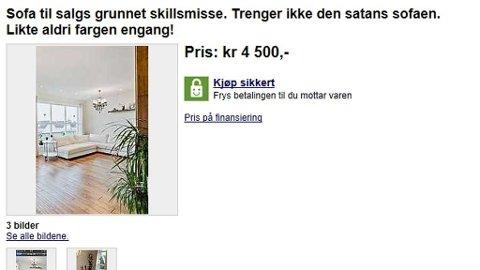 SOFA SELGES GRUNNET SKILSMISSE: Nå kan du imidlertid ikke gjøre et bittersøtt salgskupp, sa sofaen er solgt.