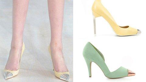 SKO MED METALLTUPP ble sett på catwalken til Louis Vuitton. Flere kjeder har kopiert skoene, disse er fra Zara og Nelly. Men det er ikke bare kjedene som kan kopiere - det kan du gjøre selv og.