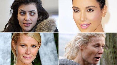 UTEN SMINKE: Sminke kan gjøre underverker, bare spør Kim Kardashian og Gwyneth Paltrow.