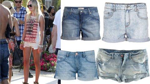 OLASHORTS: Kate Bosworth er stilig i en hvit olashorts. Til venstre shorts fra Lindex, Vila, H&M og Bik Bok.