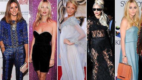 FORSKJELLIGE STILER: Olivia Palermo, Kate Moss, Blake Lively, Lady Gaga, Ashley Olsen.