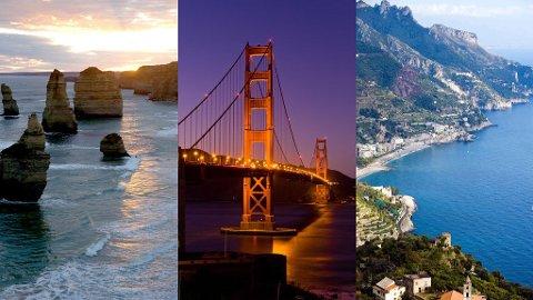 IDYLLISK: Amalfikysten i Italia, Highway 1 i USA og Great Ocean Road i Australia er kåret til de beste reiserutene for en bilferie.