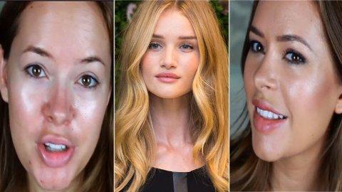 TANYA BURR viser hvordan man sminker seg som Rosie Huntington-Whiteley (i midten).
