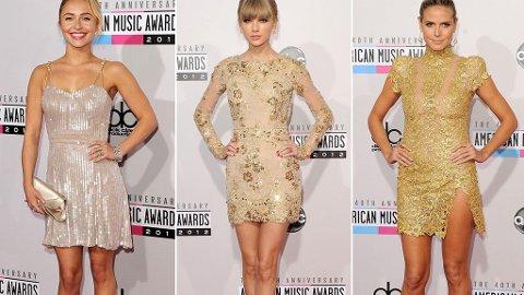GYLDNE TONER: Hayden Panettiere, Taylor Swift og Heidi Klum var blant kjendisgjestene som valgte korte, metalliske kjoler.