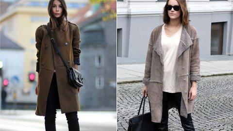 Irina Lakicevic og Sara Strand går for henholdsvis en millitærinspirert jakke og en saueskinnsjakke i vinter.