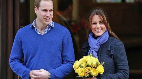 Kate og William avbildet da Kate forlot sykehuset.