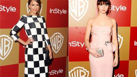 BEST KLEDD?: Jessica Alba og Felicity Jones er to av de nominerte.