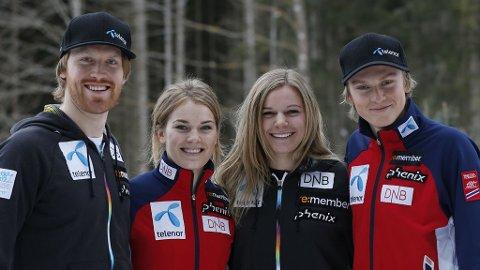 For første gang stiller Norge i lagkonkurransen i VM i alpint. (fra venstre) Leif Kristian Haugen, Nina Løseth, Mona Løseth og Henrik Kristoffersen representerer Norge i konkurransen.