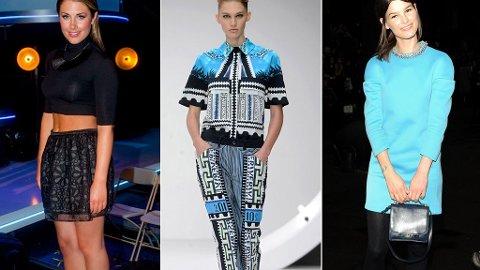 TRENDER: Tone Damli Aaberge med magen bar, mønstermiks fra Mary Katrantzou og Hanneli Mustaparta i knallfarget kjole fra Phillip Lim.