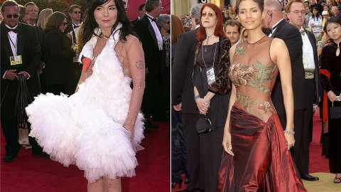 BEST OG VERST: Björk og Halle Berrys kjoler kommer på listen over de mest uforglemmelige Oscar-kjolen av to helt forskjellige grunner.
