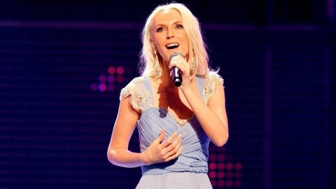 MARIA ARREDONDOs nasjonalsang for Cecila Brækhus ble spolert av lydtabbe. Bildet er fra MGP-finalen i 2010.