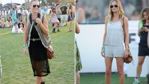STILIG: På festival kan du enten gå for en rocka eller romantisk og bohem stil, som moteløven Kate Bosworth gjorde under Coachella.
