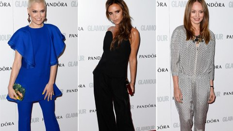 JUMPSUIT: Jessie J, Victoria Beckham og Laura Haddock stilte alle i buksedrakter på Woman of the Year Awards.