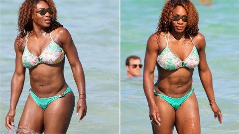 SERENA WILLIAMS nyter en dag fri på stranden i Miami.