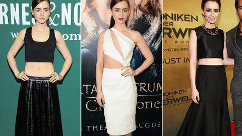 BAR MAGE: Lily Collins velger gjerne antrekk som fremhever hennes flate mage - og får stilskryt for dette.