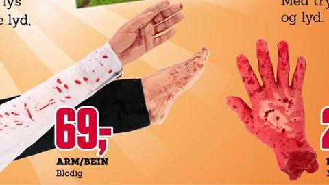 BLODIGE HENDER I FRYSEDISKEN: Den blodige hånda til venstre selges frysepakket. Barnevakten reagerte.