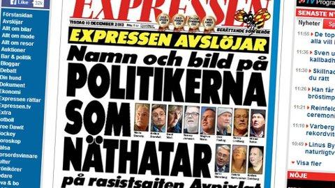AVSLØRER POLITIKERE: Expressens forside tirsdag 10. desember med oppslaget om nettstedet Avpixlat.